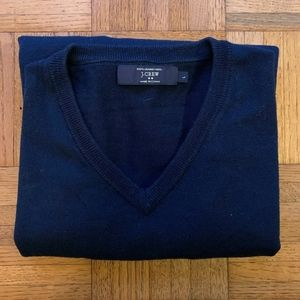 Men's J. Crew Navy Blue Merino V-Neck Sweater, L